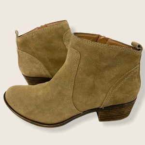 Lucky Brand Suede Leather Ankle Booties Baird Tan